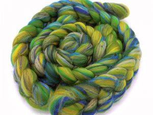 Kammzug aus Schurwolle und Flachs in grün-blau Tönen