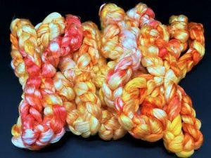 Kammzug aus reiner Maulbeerseide in gelb, orange