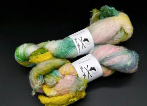 Silksheet in Pastelltönen (blau, rose, gelb)