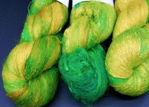 Silksheet in grün und gelb