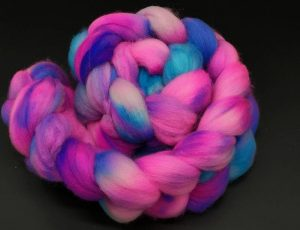 Merino superwash Kammzug in neon pink und blau