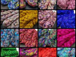 Collage aus Bildern verschiedener Sariseidenkammzüge