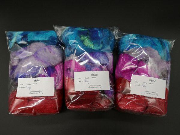 Silksheet sortiert in rot, blau und violett