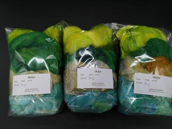 Silksheet sortiert in grün, orange