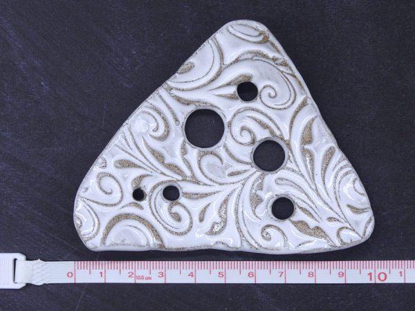 Lochscheibe aus Keramik, weiß lasiert mit 6 Löchern