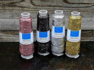 Metallisiertes Polyestergarn auf Kone in silber, rose, anthrazit und gold