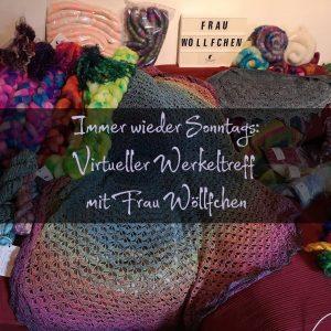 """Sofa mit Fasern aller Facon bestückt überlagert mit dem Text """"Immer wieder Sonntags: Virtueller Werkeltreff mit Frau Wöllfchen"""""""