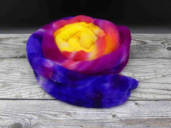 Kammzug aus Southdownfasern im Farbverlauf von dunkelblau über lila, violett und pink nach gelb